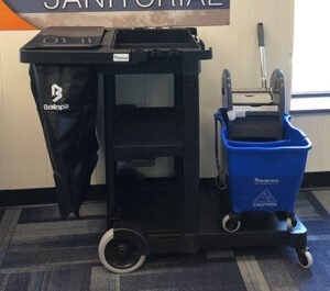 Janitor cart and mop bucket, sold individually or as a combination